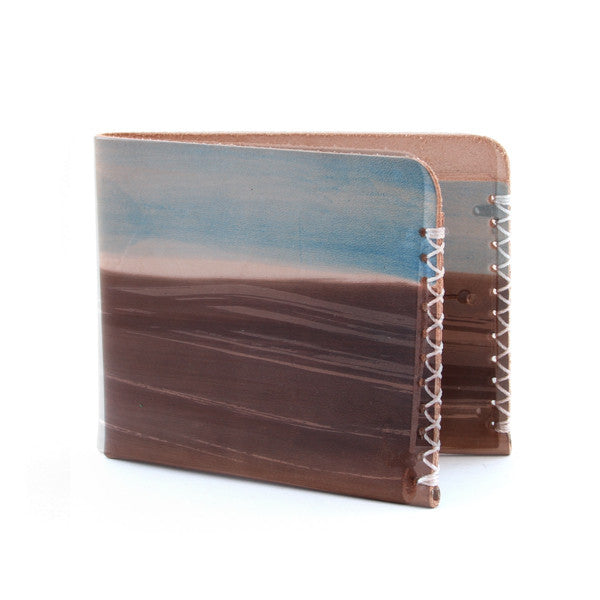 blue and brown painted mens wallet