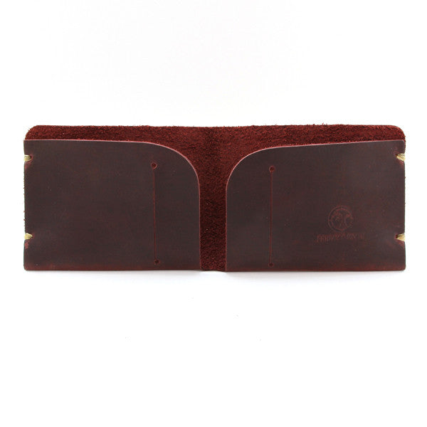 McGraw Oiled Brown Leather Minimal Wallet Open