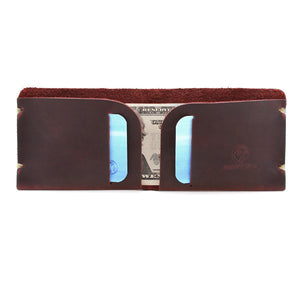 McGraw Oiled Brown Leather Wallet Open