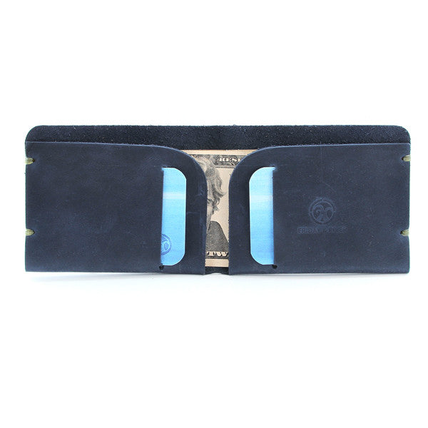 McGraw Oiled Indigo Leather Billfold with contents