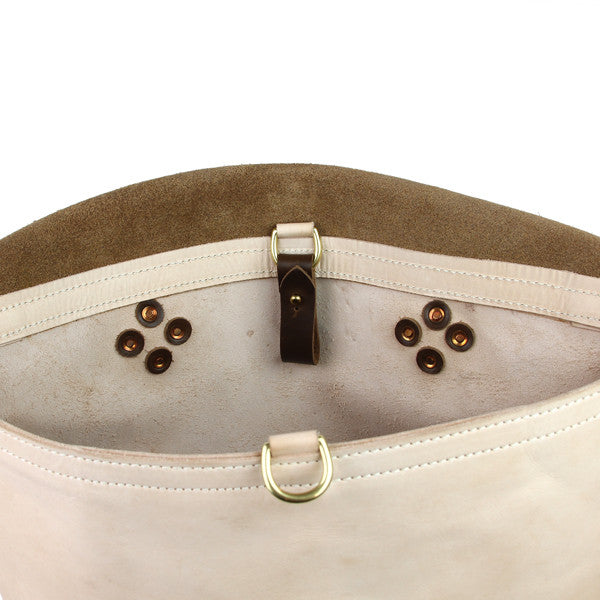 leather messenger bag interior rivet detail