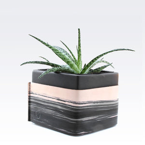 Ceramic leather wrapped black planter