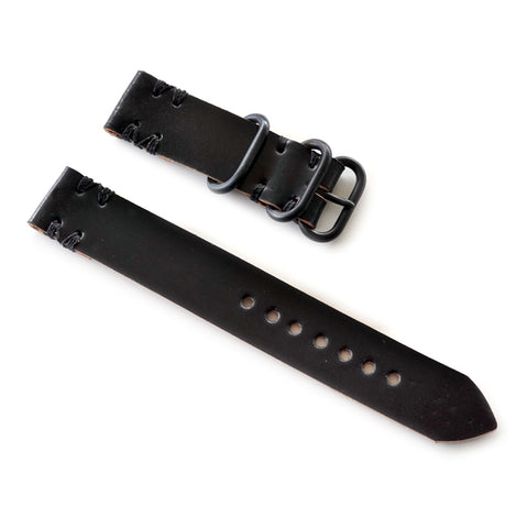 Black shell cordovan 2 piece nato watch strap
