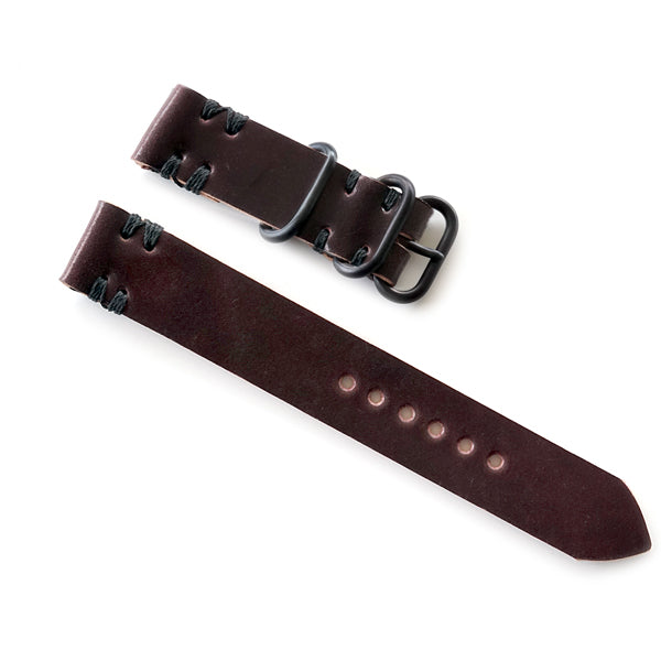 Burgundy Shell Cordovan 2-Piece Nato Style Watch Band with black pvd buckle hardware