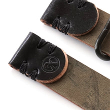 Load image into Gallery viewer, Black shell cordovan 2 piece nato watch strap logo detail