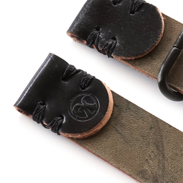 Black shell cordovan 2 piece nato watch strap logo detail