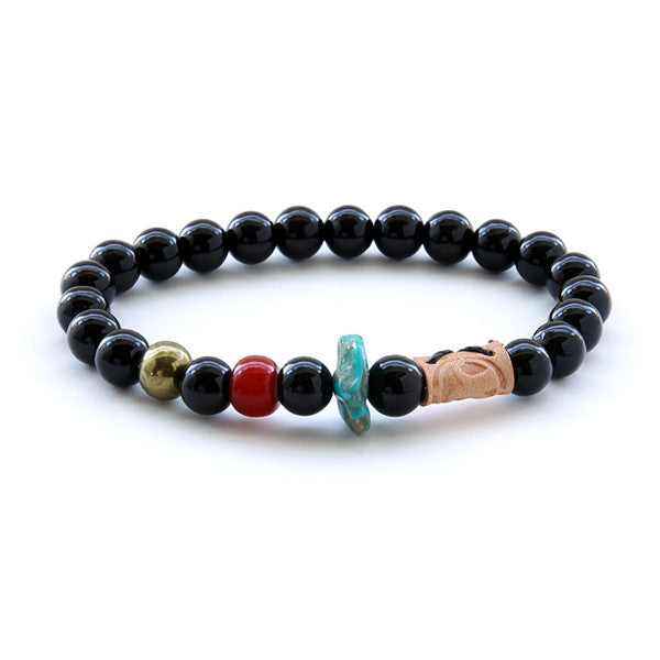 Black glass bead and stone mens bead bracelet