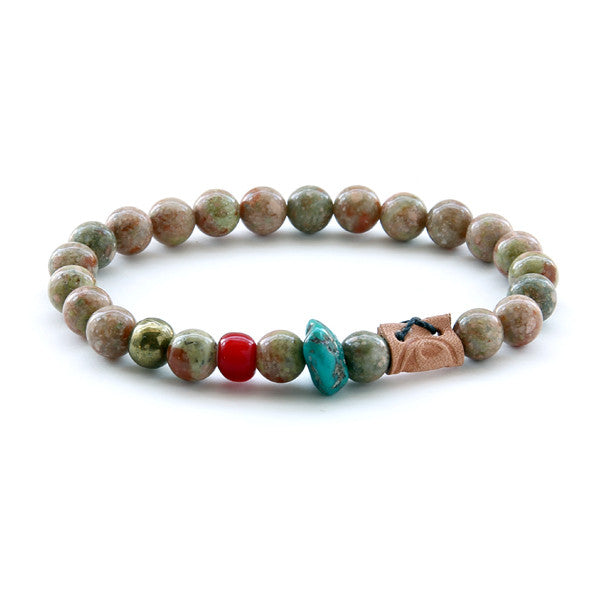 Brown glass bead and stone mens bead bracelet