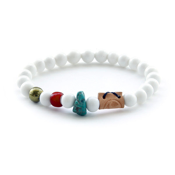 White glass bead and stone mens bead bracelet
