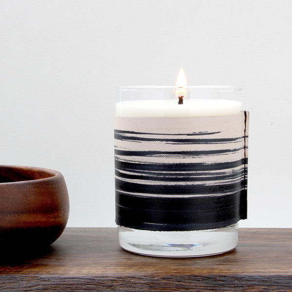 Leather whiskey glass candle