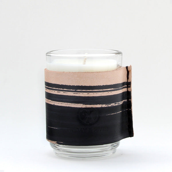 Small leather wrapped Scented candle