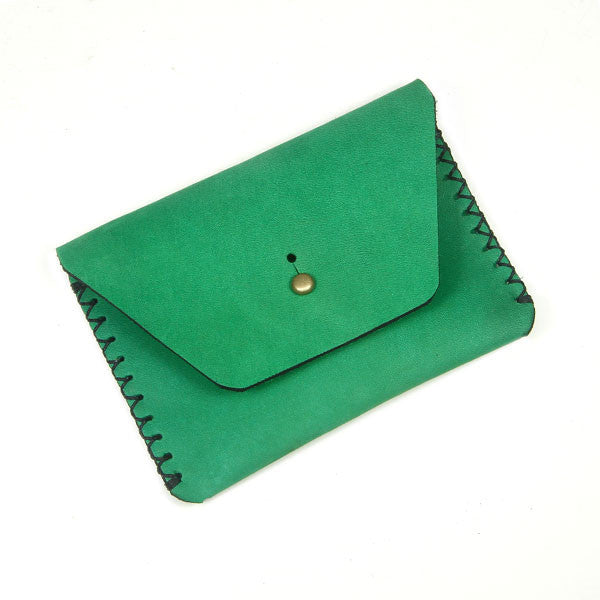 Green horween card wallet