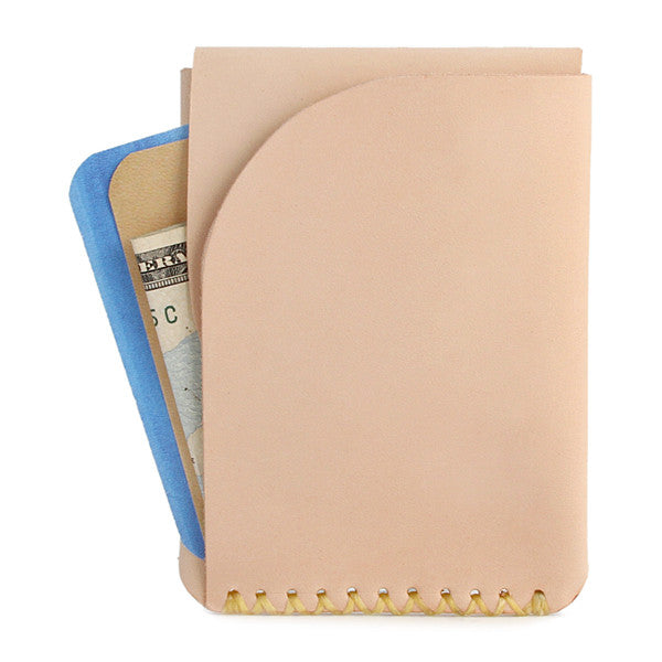 Natural veg tan leather slim card wallet
