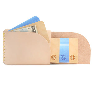 Natural veg tan leather slim wallet Open