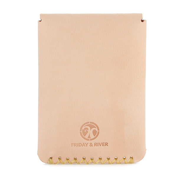 Natural veg tan leather slim wallet back embossed logo