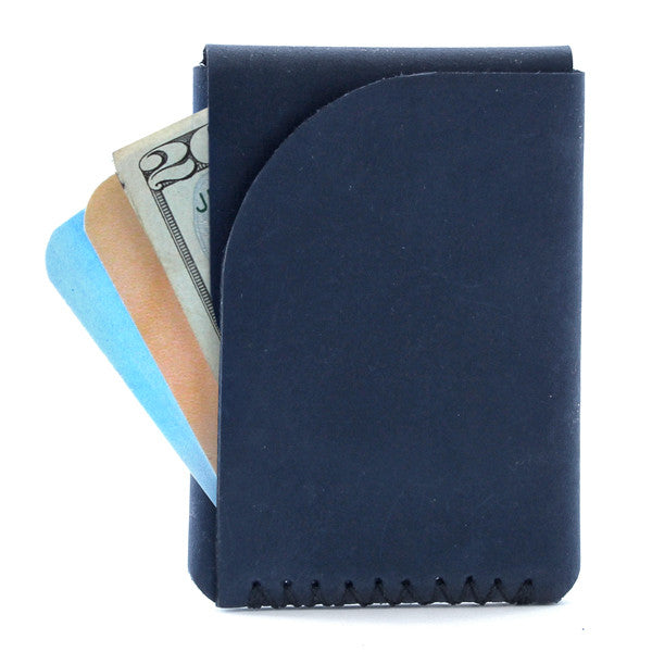 Tecolote Minimal Indigo Leather Wallet with cards