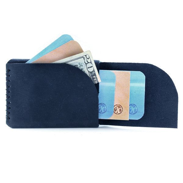 Tecolote Minimal Indigo Leather Wallet with cards open