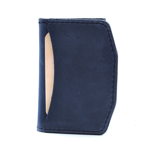 Made in USA indigo leather slim wallet Front