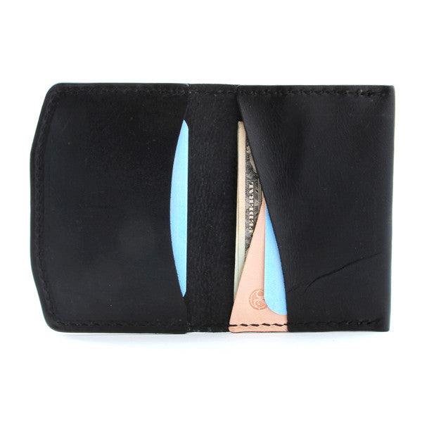 Black slim leather wallet with cash and cards