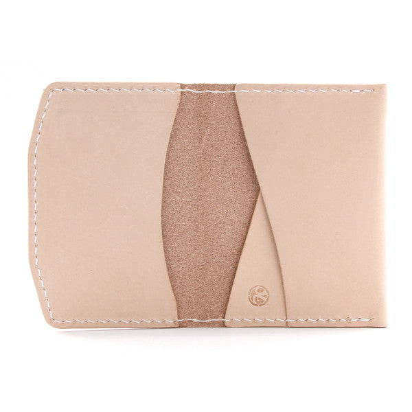 natural leather wallet open