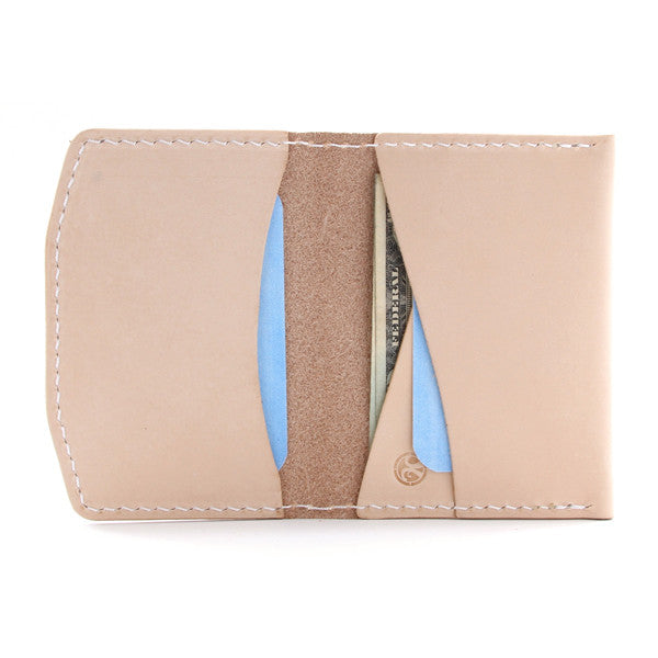 Nude leather wallet open
