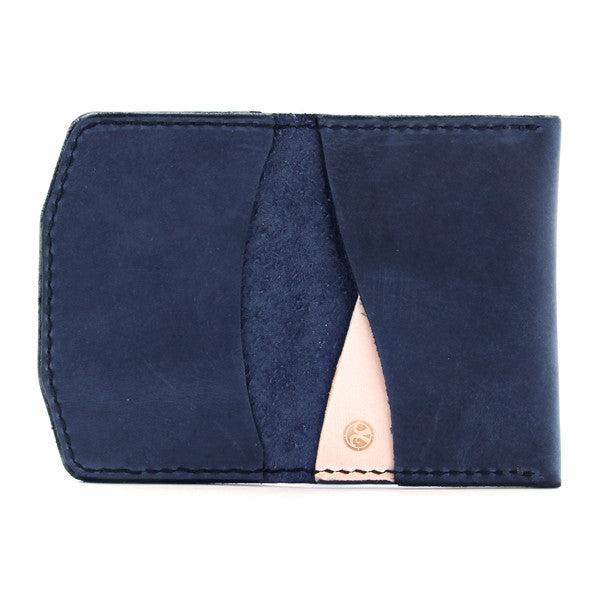 Made in USA indigo blue leather minimal wallet open