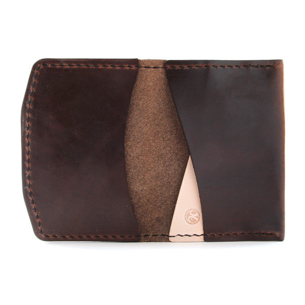 Brown leather front pocket wallet open