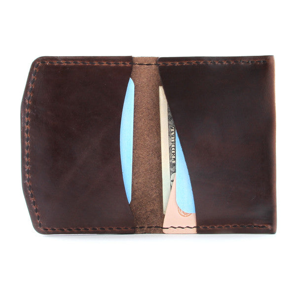 Horween tan brown leather wallet with cards