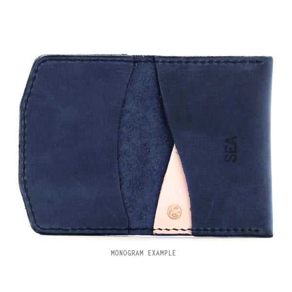 Monogrammed indigo leather wallet