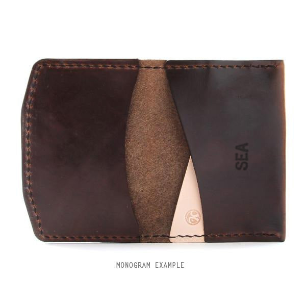 Brown Horween Monogrammed Leather Wallet