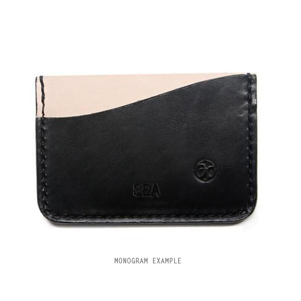 Black monogrammed card holder