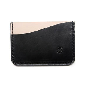 Black and veg tan minimalist wallet
