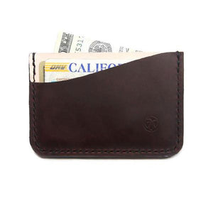 Brown and vegtan minimalist card wallet with cards