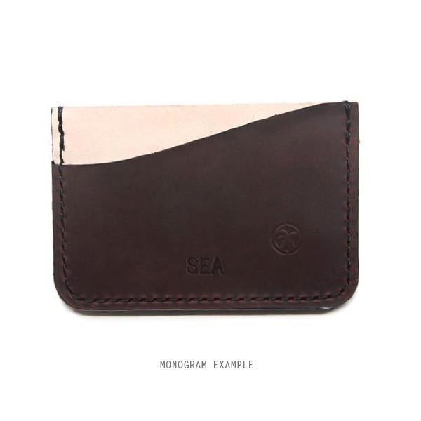 Brown and veg tan card wallet with monogram