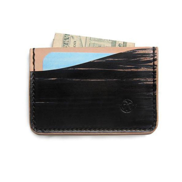 hand dyed veg tan minimalist wallet with cards