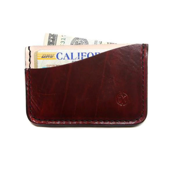 red rock horween chromexcel card holder with cards