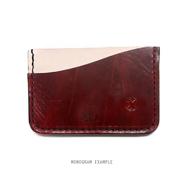 red rock horween chromexcel card holder monogrammed