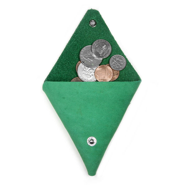 Green leather coin case