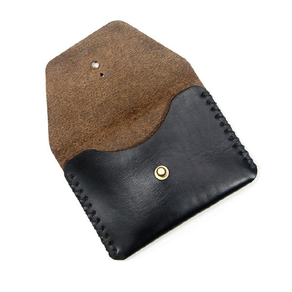 black leather pouch open