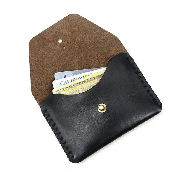 black leather minimal card holder open