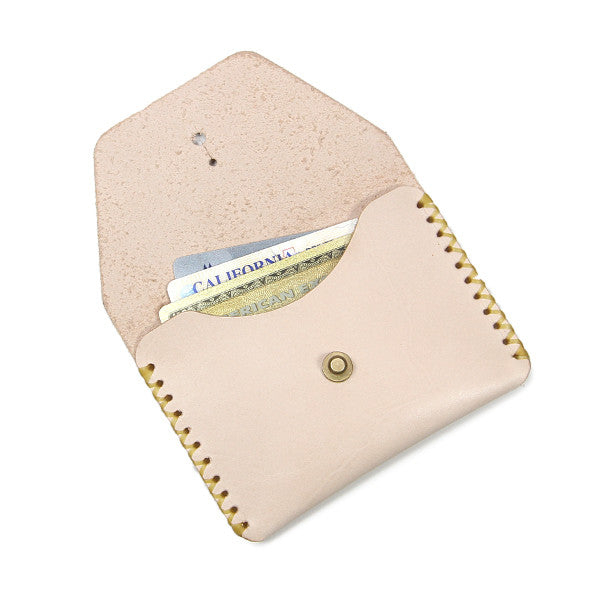 Veg Tan card wallet open with cards