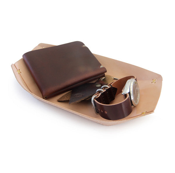 natural leather valet tray