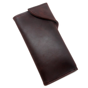 Oiled brown leather long wallet