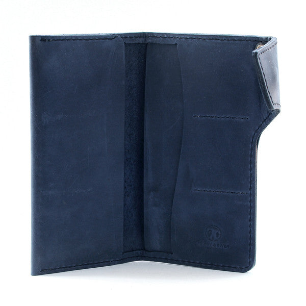 Blue Indigo Leather Long Wallet Open