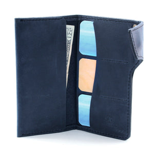 Blue Indigo Leather Long Wallet Open with cards