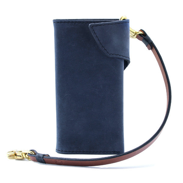 Blue Indigo Leather Long Wallet biker style with lanyard