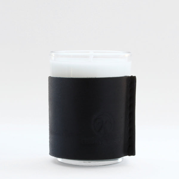 Small black leather wrapped soy candle