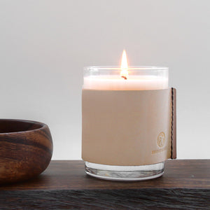 Yuzu citrus leather wrapped soy candle