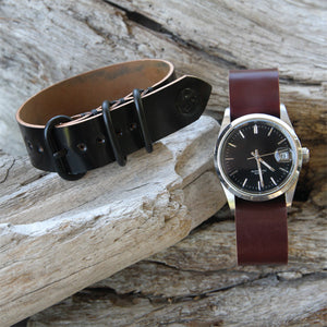 Black and Burgundy Horween Shell Cordovan Watch Bands