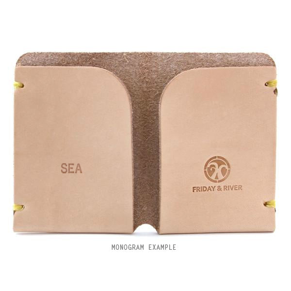 Monogrammed veg tan card holder